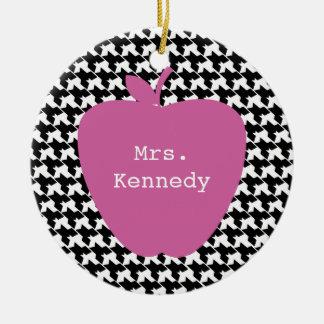 Pink Apple Houndstooth Teacher Ceramic Ornament