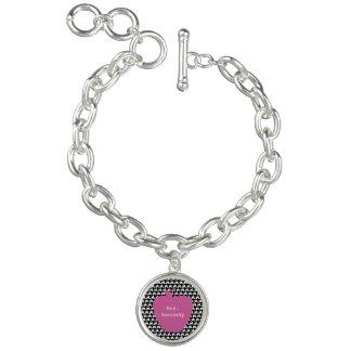 Pink Apple Houndstooth Teacher Charm Bracelets