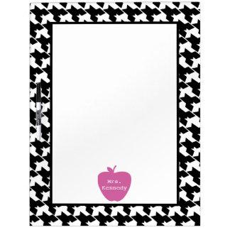 Pink Apple Houndstooth Teacher Dry-Erase Board
