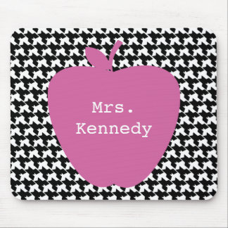 Pink Apple Houndstooth Teacher Mouse Pad
