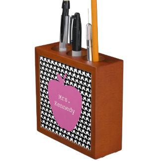 Pink Apple Houndstooth Teacher Pencil Holder