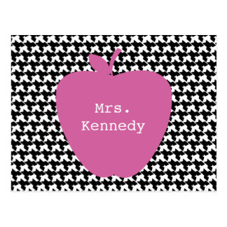 Pink Apple Houndstooth Teacher Postcard