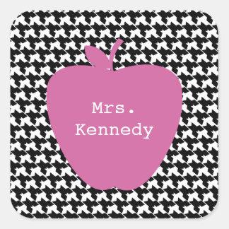 Pink Apple Houndstooth Teacher Square Sticker