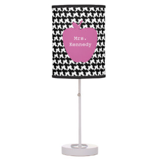 Pink Apple Houndstooth Teacher Table Lamp