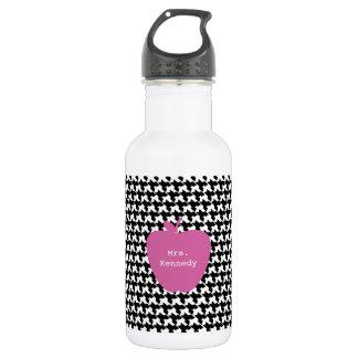 Pink Apple Houndstooth Teacher Water Bottle
