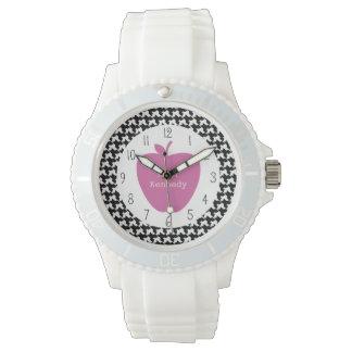 Pink Apple Houndstooth Teacher Wrist Watch