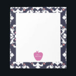 """Pink Apple Ikat Teacher Notepad<br><div class=""""desc"""">A gift for teachers featuring an illustration of a pink apple over a navy blue ikat background.  Personalize with your name.</div>"""