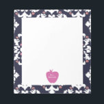 "Pink Apple Ikat Teacher Notepad<br><div class=""desc"">A gift for teachers featuring an illustration of a pink apple over a navy blue ikat background.  Personalize with your name.</div>"