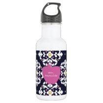 Pink Apple & Ikat Teacher Stainless Steel Water Bottle
