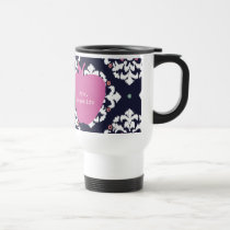 Pink Apple & Ikat Teacher Travel Mug