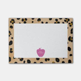 Pink Apple Leopard Print Teacher Post-it® Notes