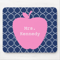 Pink Apple Navy Quatrefoil Mouse Pad