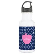 Pink Apple Navy Quatrefoil Stainless Steel Water Bottle