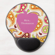 Pink Apple Paisley Teacher Gel Mouse Pad