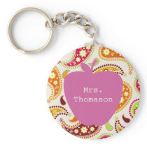 Pink Apple Paisley Teacher Keychain