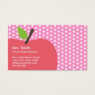 Pink Apple Polka Dots School Teacher Business Card
