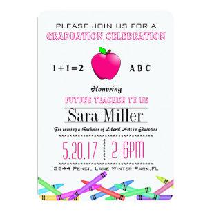 Pink apple invitations announcements zazzle pink apple teacher graduation invitation filmwisefo