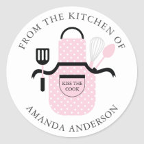 Pink Apron Kiss the Cook From the Kitchen of Classic Round Sticker
