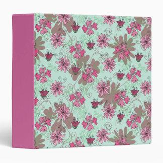 Pink Aqua and Beige Floral Pattern Binders