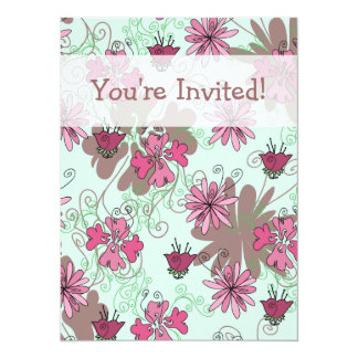 Pink Aqua and Beige Floral Pattern Card