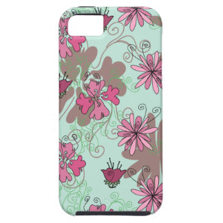 Pink Aqua and Beige Floral Pattern iPhone 5/5S Case
