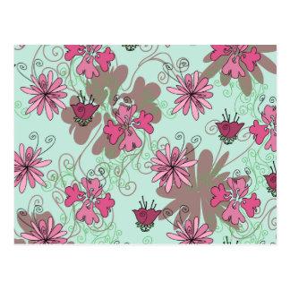 Pink Aqua and Beige Floral Pattern Postcard