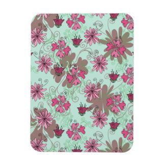 Pink Aqua and Beige Floral Pattern Flexible Magnets