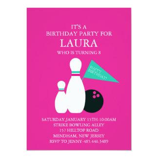 Pink & Aqua Bowling Party Birthday Invitation