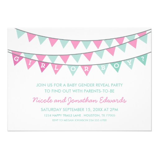 PINK & AQUA BUNTING BABY GENDER REVEAL PARTY CUSTOM INVITES