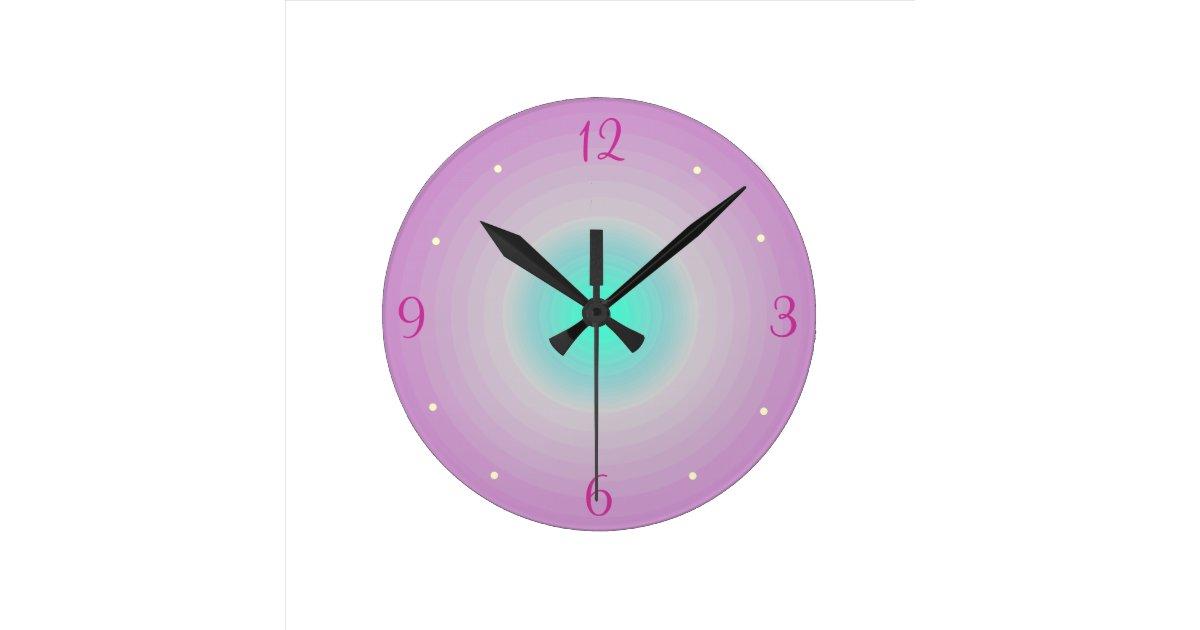 Pink Aqua Childrens Wall Clock Zazzle