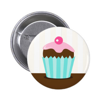 Pink aqua cupcake girls birthday favor buttons