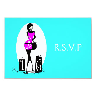 "Pink aqua elegant ""sweet sixteen"" rsvp 3.5x5 paper invitation card"