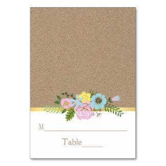 Pink, aqua floral craft paper wedding place card