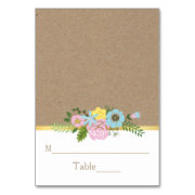 Pink, aqua floral craft paper wedding place card table cards