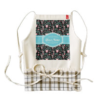 Pink Aqua Floral Pattern in Black Personalized Zazzle HEART Apron