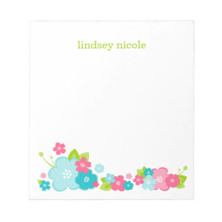 Pink & Aqua Flower Border Custom Monogram Notepad