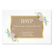 Pink, aqua flowers and craft paper wedding RSVP 3.5