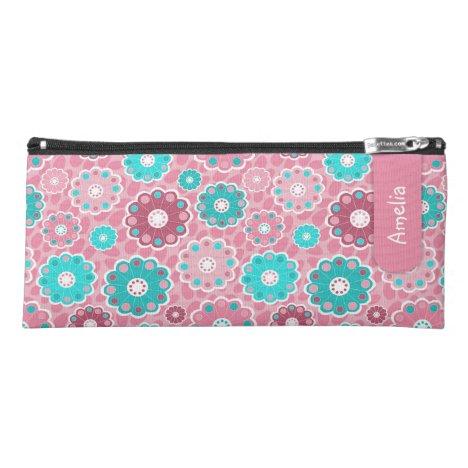 Pink aqua funky floral named pencil case