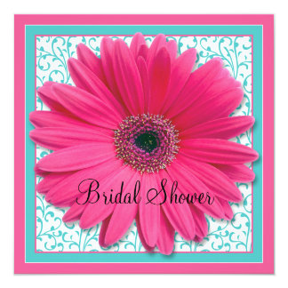 Pink Aqua Gerbera Daisy Bridal Shower Invitation