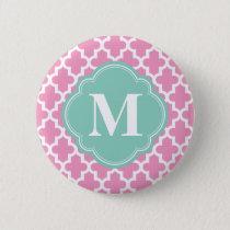 Pink & Aqua Modern Moroccan Custom Monogram Button