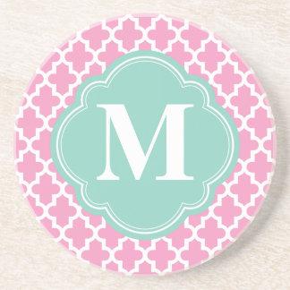Pink & Aqua Modern Moroccan Custom Monogram Coaster