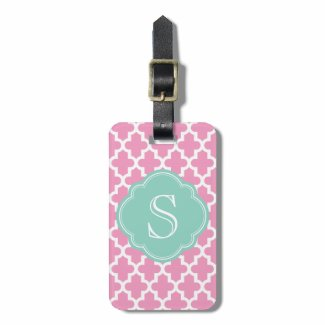 Pink & Aqua Modern Moroccan Custom Monogram Luggage Tags
