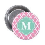 Pink & Aqua Modern Moroccan Custom Monogram Pins