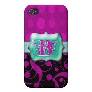 "Pink aqua monogram ""B"" customizable iPhone 4 Cover"