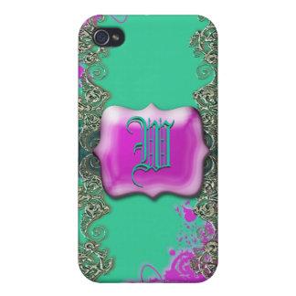 Pink aqua monogram vintage victorian iPhone 4 covers