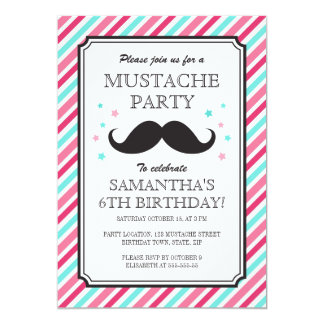 Pink aqua stripes mustache bash birthday party card
