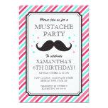 Pink aqua stripes mustache bash birthday party announcement