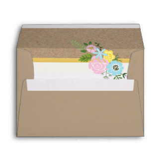 Pink, aqua vintage flowers and craft paper wedding envelope