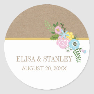 Pink, aqua vintage flowers wedding Save the Date Classic Round Sticker