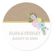 Pink, aqua vintage flowers wedding Save the Date Round Sticker